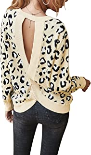 Chigant Women's Leopard Sweater Sexy Wrap Backless Ribbed Knit Round Neck Loose Fit Warm Pullover Jumper Tops