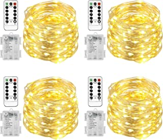 Homemory 4 Pack 6M 60 LED Fairy Lights Battery Operated Christmas Lights with Remote Waterproof 8 Modes Firefly Twinkle St...