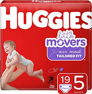 Huggies Little Movers Diapers, Size 5 (27+ lb.), 19 Ct, Jumbo Pack (Packaging May Vary)