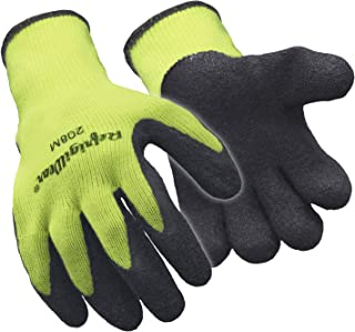 RefrigiWear HiVis Ergo Grip Knit Work Gloves with Textured Rubber Latex Coated Palm, High Visibility Lime - PACK OF 12 PAIRS