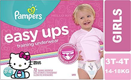 Pampers Easy Ups Pull On Disposable Training Diaper for Girls, Size 5 (3T-