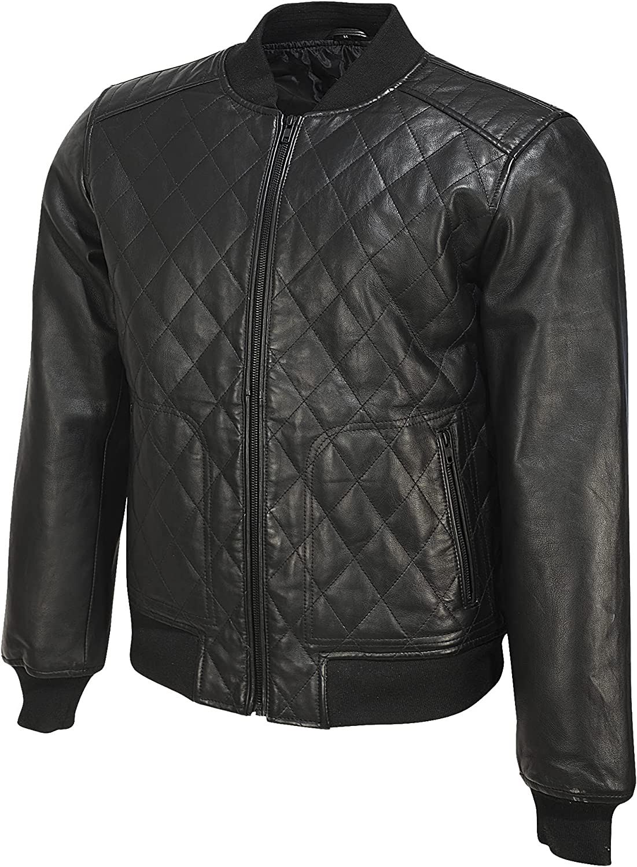 Tan & Brun Garrick quilted vegan leather Jacket for Men (Black)