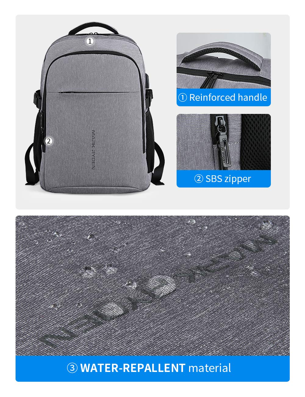 MARK RYDEN Mochila para portátil Mochila de Negocios Impermeable para Hombre Mochila Escolares con Puerto de USB para Ordenador 17,315.6 Pulgadas
