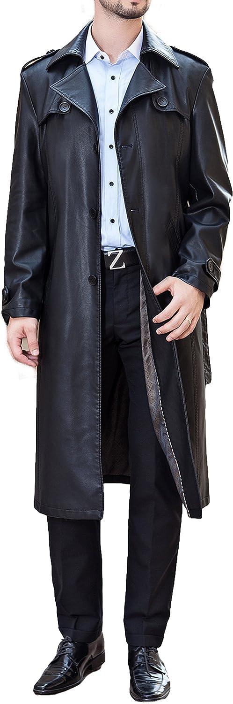 PENER Men Business Suit Collar Long Trench Coat Fashion Long Leather Jacket