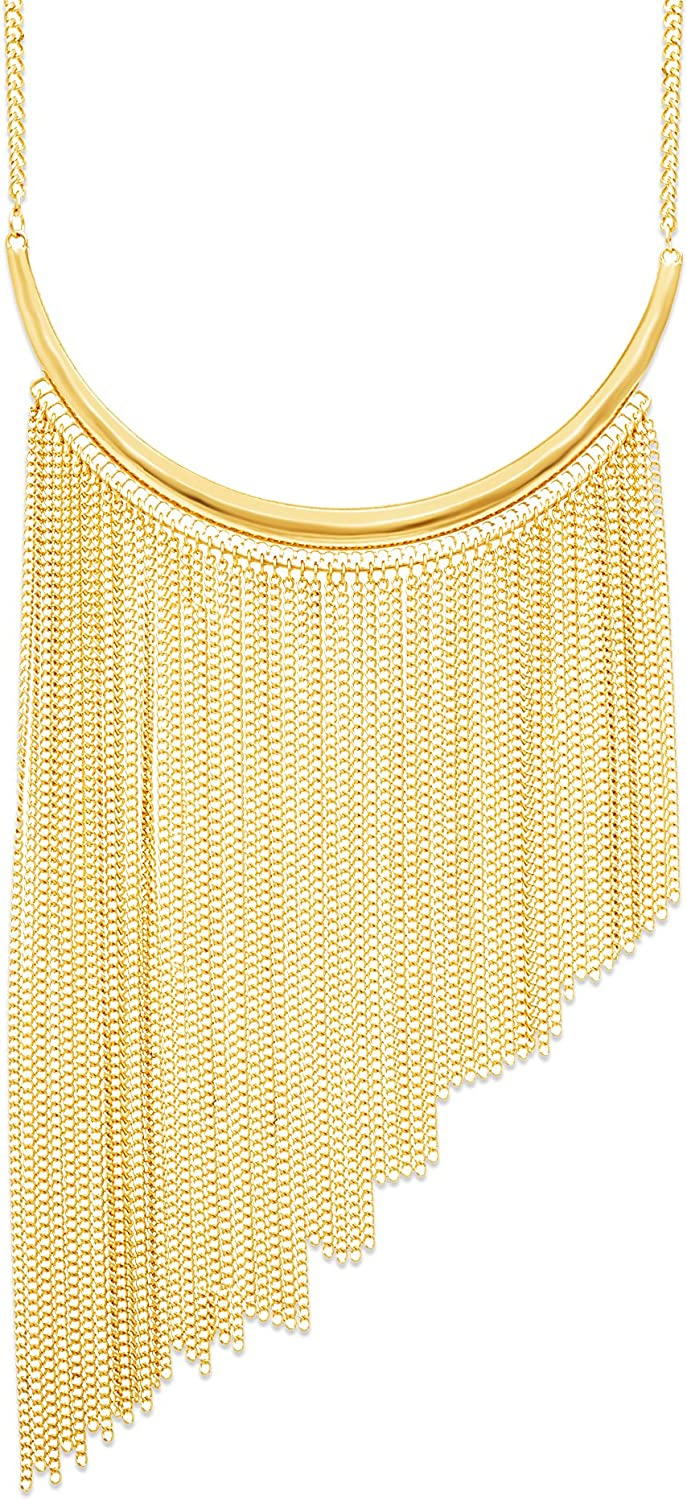 Steve Madden Bib Necklace with Chain Fringe in Yellow Gold Plated Alloy (Yellow)