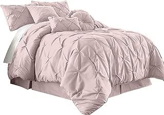 Chezmoi Collection Sydney 7-Piece Pintuck Bedding Comforter Set (Queen, Soft Pink)