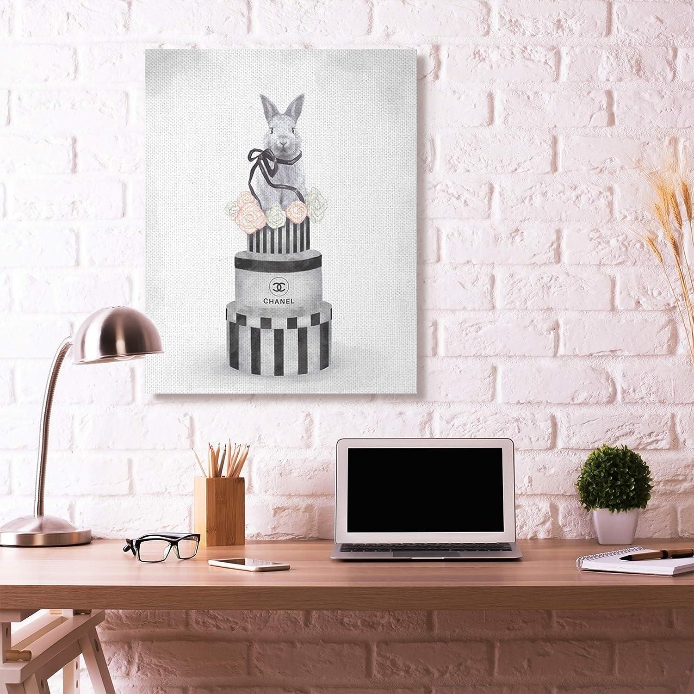 13 x 19 Wood Plaque Design by Artist Ziwei Li Wall Art Stupell Industries Fashion Rabbit Box Stack Pink Neutral Grey Painting