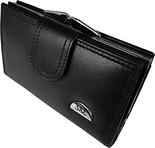 Quenchy London Ladies Designer Leather Purse - 8 RFID Blocking Debit or Credit Card Spaces with Button Closure - Large Metal Clasped Coin Section - 2 Bank Note Sections - 14cm x9x2.5 Black QL439K