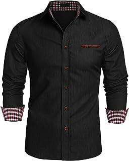76e310ca JINIDU Men's Casual Button Down Denim Shirts Long Sleeve Dress Shirt