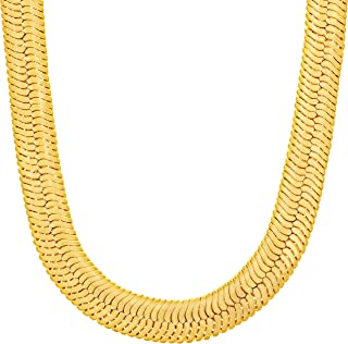 Lifetime Jewelry 9mm Flexible Herringbone Chain Necklace 24k Real Gold Plated with Free Lifetime Replacement Guarantee