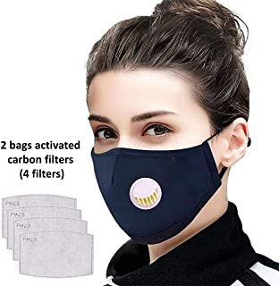 Tdas anti pollution mask for men women n95 n99 with filter air masks washable reusable pm 2.5 - with 2 bags filters (4 filters)