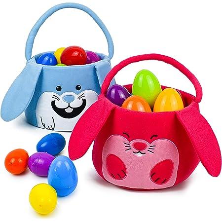 JOYIN 2 Packs Easter Bunny Plush Basket Set for Easter Eggs Hunt, Easter Gift Baskets Bags for Kids, Kids Easter Party Favor (Blue, Red)