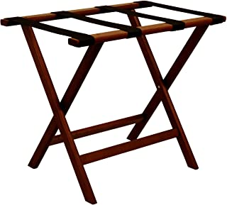 """Wooden Mallet Deluxe Straight Leg Luggage Rack,Black Straps, 20"""" H x 23.75"""" W x 15.5"""" D, Mahogany"""