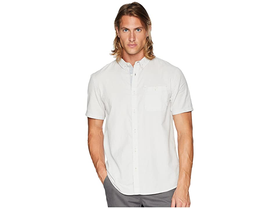 Quiksilver Waterfalls Short Sleeve Top (Sleet) Men's Short Sleeve Button Up, Taupe