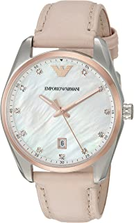 Emporio Armani Womens Quartz Watch, Analog Display and Leather Strap AR6133