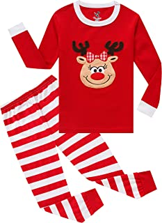 Image of Cute Red Reindeer with Bow Christmas Pajama Set for Girls and Toddlers