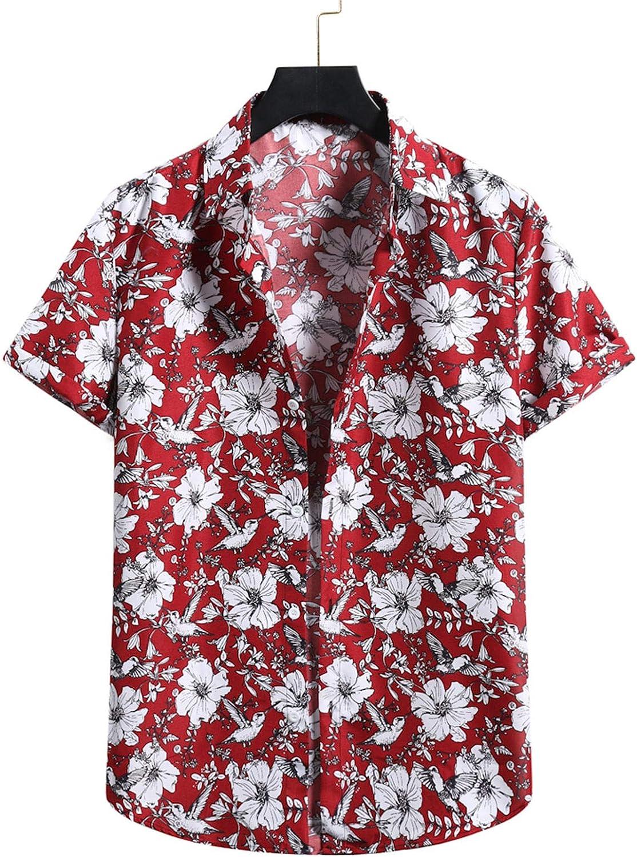 Men's Button Down Hawaiian Aloha Shirt Short-Sleeve Relaxed-fit Flower Print Summer Beach Shirt Hawaiian-Print