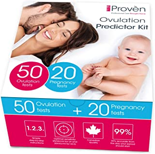 iProven Ovulation Predictor Kit - Ovulation Kit with 50 Ovulation Strips and 20 Pregnancy Tests - Early Pregnancy Detection - Easy Dip&Read Test Strips for Home Use - iProvèn FK-127A