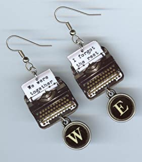 Typewriter love quote earrings - typewriters key keys jewelry - We were together I forgot the rest - fiance gift