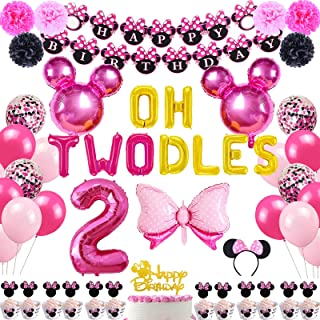 Danirora Minnie Mouse Party Decorations for Girls 2nd Birthday, Oh Twodles Minnie Mouse Birthday Party Supplies Minnie Ban...