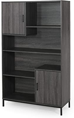 Great Deal Furniture Joanne Contemporary Faux Wood Cube Unit Bookcase, Dark Gray and Black