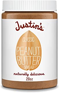 Justin's Classic Peanut Butter, Only Two Ingredients, No Stir, Gluten-free, Non-GMO, Responsibly Sourced, 28oz Jar