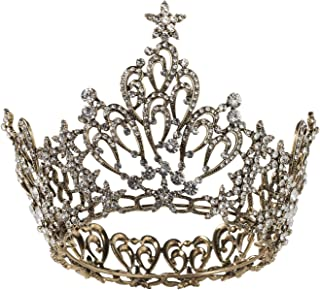 SWEETV Vintage Queen Crown for Women, Black Pageant Crown Cake Topper Wedding Tiara Headband, Gothic Chic Costume Party Accessories for Prom Halloween Birthday