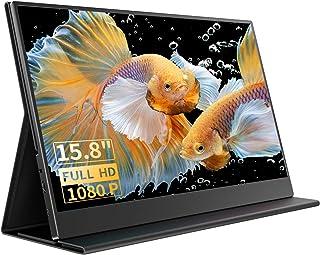 Moniteur Portable, Moniteur Externe 15,8 Pouces 1080 FHD, écran IPS avec HDMI pour Ordinateur Portable, PC, MacBook Pro, X...