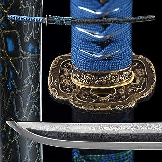 entez- Real Japanese Samurai Katana Sword 1045/1060/1095/Damascus Folded Steel/Full Handmade Katana,Battle Ready Real,Full Tang,Razor Sharp
