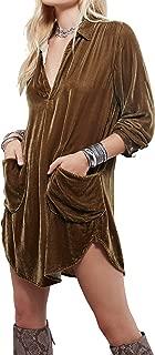 Womens Velvet Long Sleeve Pocket Casual Mini Shirt Dress