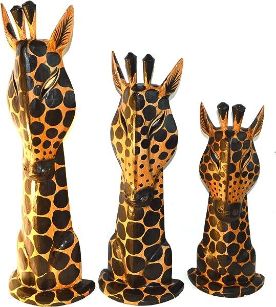 套装 3 大型手工雕刻木制非洲家庭长颈鹿雕像雕塑