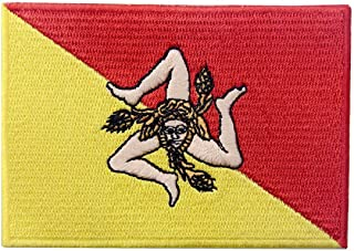 Sicily Italy Flag Patch Embroidered Sicilian Italian Applique Iron On Sew On National Emblem