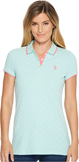 Stretch Pique Dot Print Polo Shirt