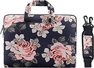 MOSISO Laptop Shoulder Messenger Bag Case Sleeve for 14 Inch 15 Inch Laptop Case Laptop Briefcase 15.6 Inch, Canvas Rose Pattern,Dark Blue