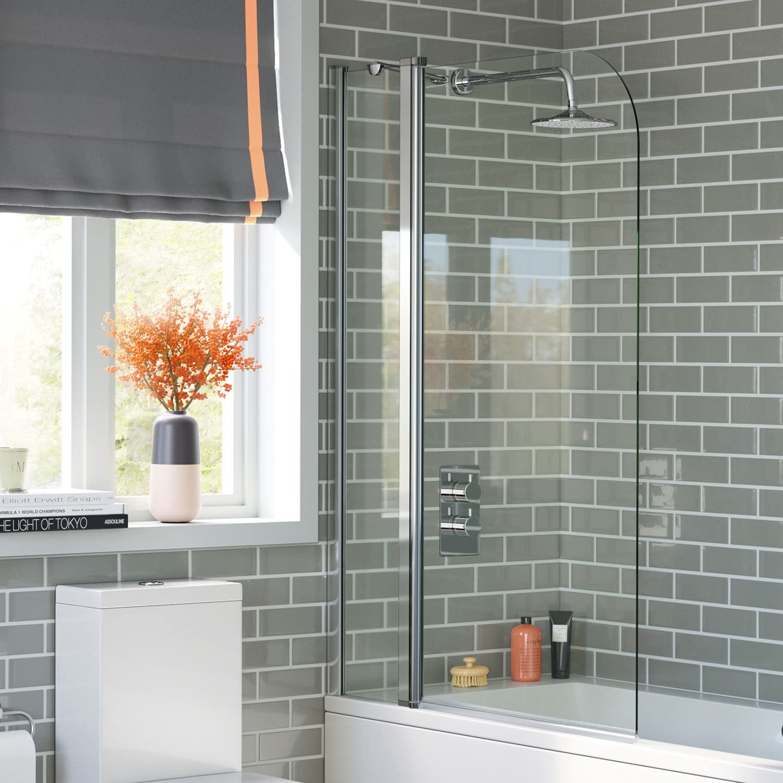 1000mm Pivot Bath Shower Easy Clean Glass Screen Reversible Door Panel