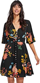 Milumia Women's Boho Button Up Split Floral Print Flowy...