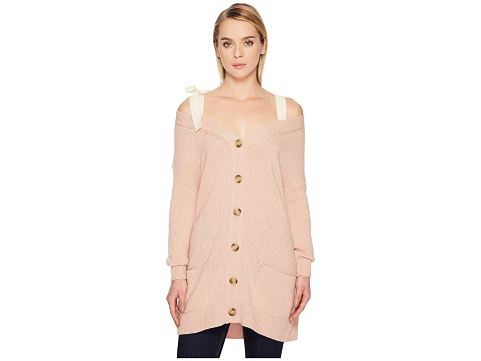 RED VALENTINO Oversized Cardigan with Grosgrain Bow (Blush) Women
