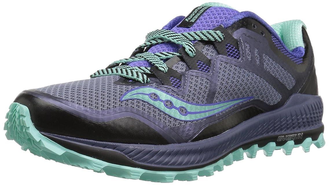 気を散らす虎抵抗[Saucony] Women's Peregrine 8 Grey/Violet Aqua Ankle-High Running Shoe - 6.5M