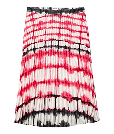 Calvin Klein Print Pleated Pull-On Skirt (White/Hibiscus) Women