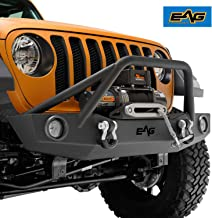EAG Front Bumper Off Road with Two 12W LED Lights and Winch Plate Fit for 18-19 Jeep Wrangler JL