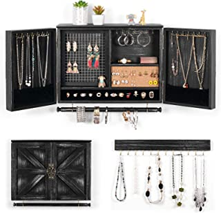 XCSOURCE Wall Hanging Jewelry Organizer Rustic  Wall Mounted Mesh Jewelry Holder   Wooden Wall Mount Holder for Necklaces,...