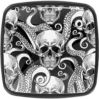 Les tentacules du crâne et du Poulpe Boutons D'armoire 4 Pcs Poignés Poignée De Champignons Boutons D'aluminium Porte Poig...