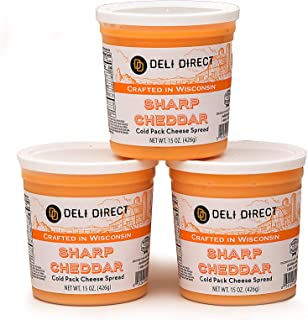 Wisconsin Cheese Spread - Creamy Sharp Cheddar (3 Pack of 15oz.each Containers)