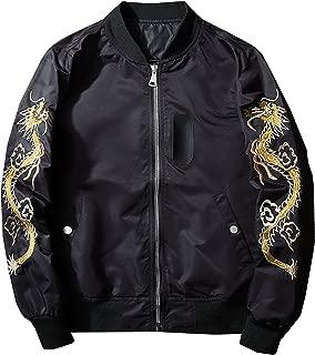 Men's Fashion Chinese Dragon Embroidered Totem Bomber Jacket Windbreaker Moto Bomber Jacket