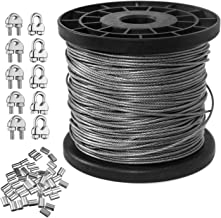 1/16 Inch Vinyl Coated Wire Rope Kit,Cozysmart 304 Stainless Steel Wire Cable,328 Feet 7X7 Strand with 50 PCS Aluminum Crimping Loop and 10 PCS Clamp