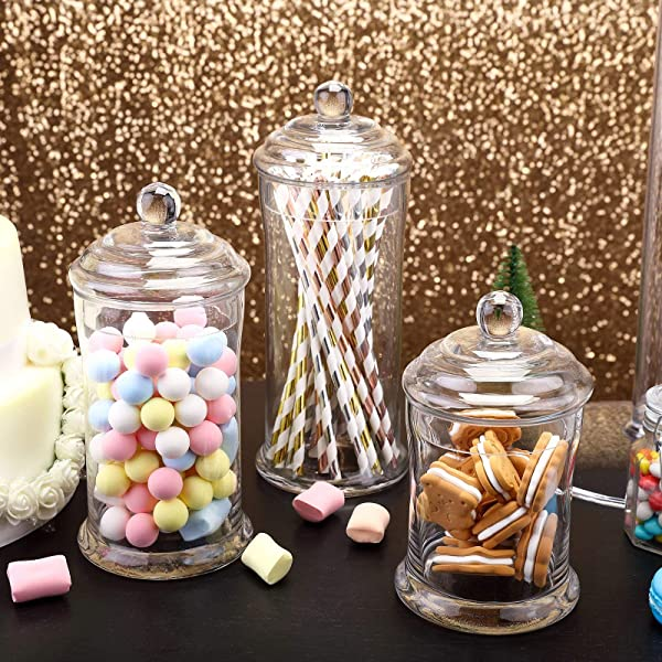 Efavormart 3 Pack Clear Glass Apothecary Jars Candy Buffet Containers With Lids For Wedding Party Favor Decor 7 9 10