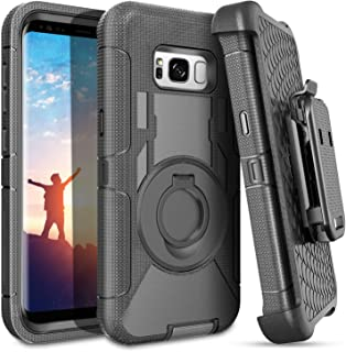 S8 Plus Case,Galaxy S8 Plus Case,BENTOBEN Ring Kickstand Belt Clip Holster,Shockproof Heavy Duty Rugged Hybrid Bumper Full Body Protective Case for Samsung Galaxy S8 Plus(6.2 inch)for Men/Boys, Black