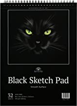 Black Sketch Pad : Book of Crisp Black Perforated Paper on Spiral - 32 Sheets Sketchpad