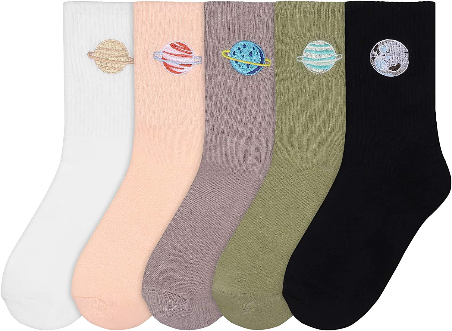 KESYOO 5 Pairs Women Cotton Planet Socks Mid-Tube Embroidered Socks Fashion Daily Casual Crew Socks for Womens & Girls