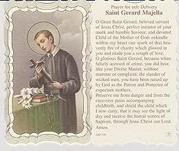 Saint Gerard Prayer for Safe Delivery Gold Embossed Linen Holy Card w/ Religious Eraser